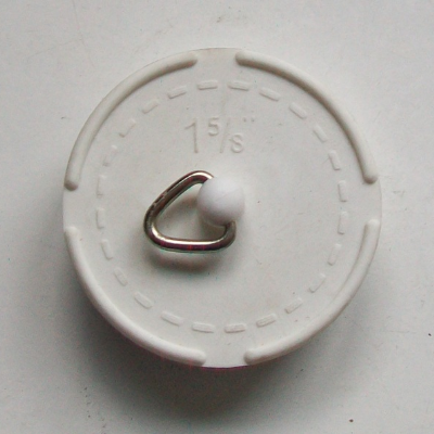 1.5/8 White Tapered Rubber Waste Plug - 74000310